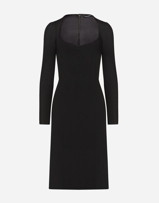 Long-sleeved cady midi dress in BLACK