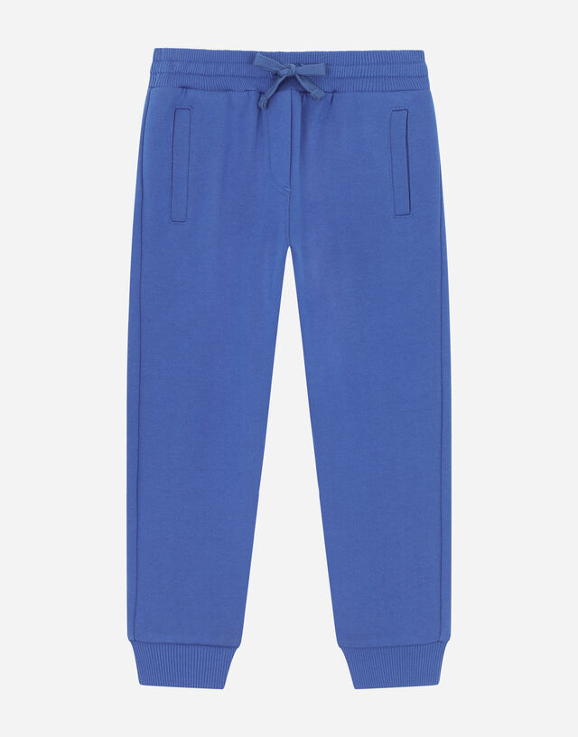 Jersey jogging pants with logo tag in Blue