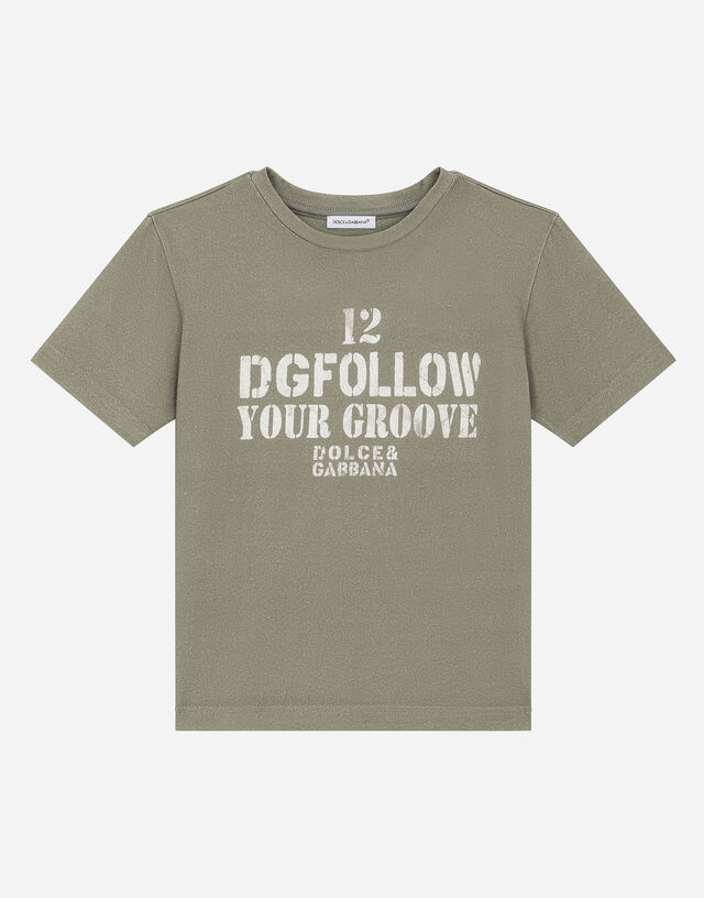 Jersey T-shirt with iconic lettering in Grey