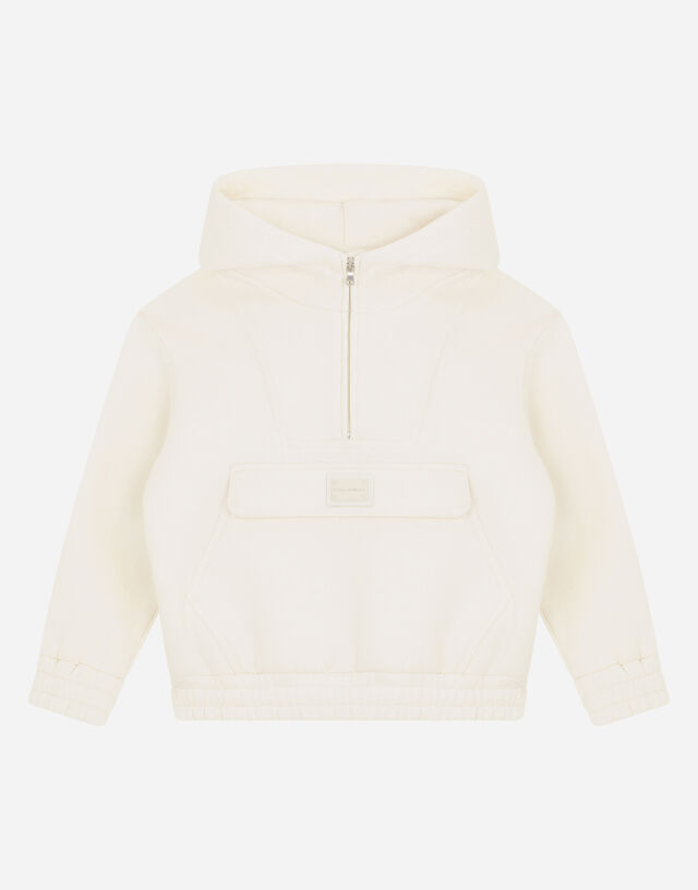 Jersey hoodie with logo plate in White