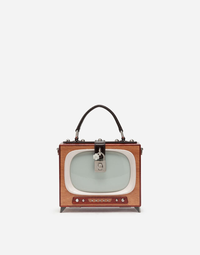 Tv Dolce Box bag in hand-painted wood  in MULTICOLOR