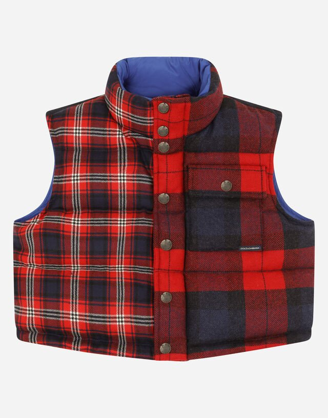 Sleeveless down jacket in mixed tartan and nylon in Multicolor