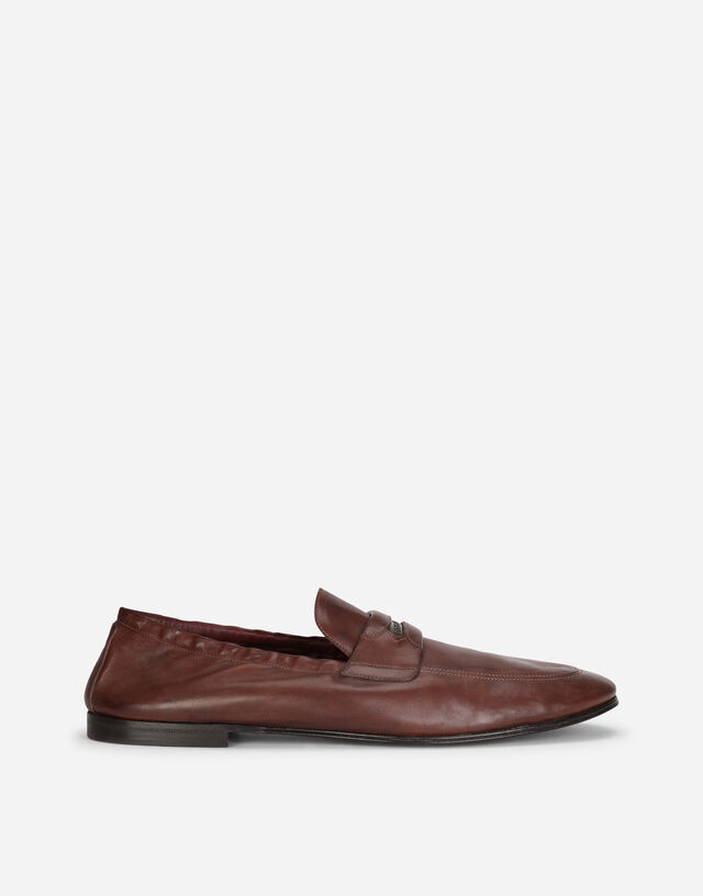 Calfskin loafers with branded tag in BROWN