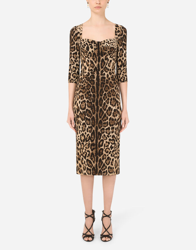 Leopard-print calf-length cady dress in Multicolor