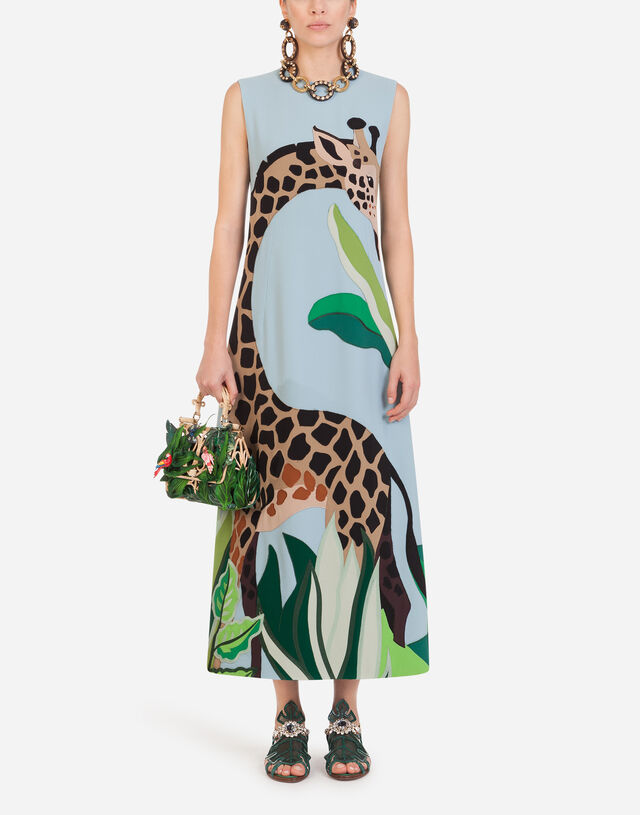 Long sleeveless dress in cady with giraffe patch in Azure