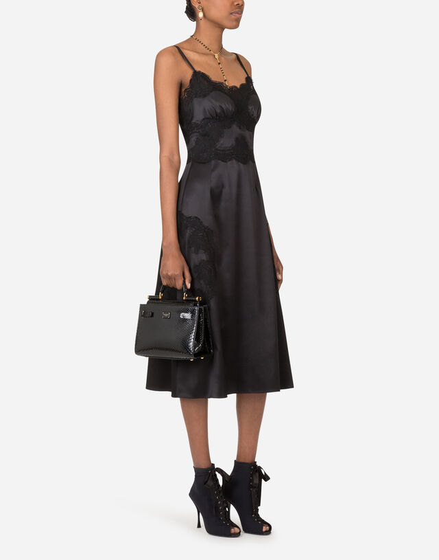 Satin and lace calf-length slip dress in BLACK