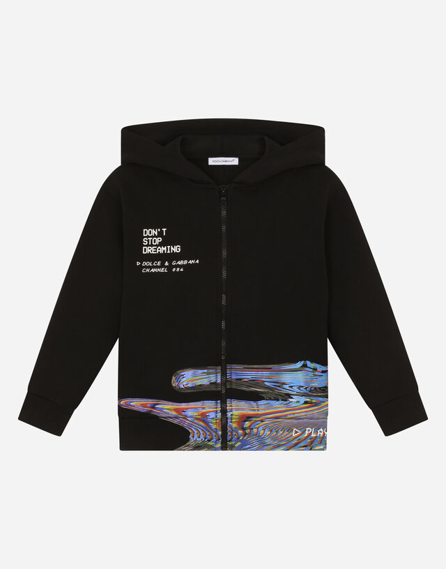 Jersey hoodie with glitch effect in Black
