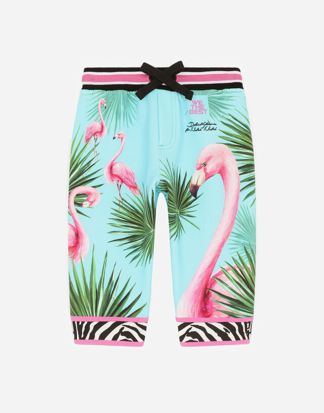 Jersey jogging pants with flamingo print in Multicolor