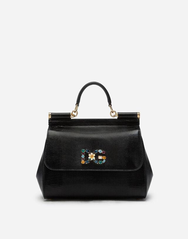 Medium calfskin Sicily bag with iguana print and DG crystal logo patch in BLACK