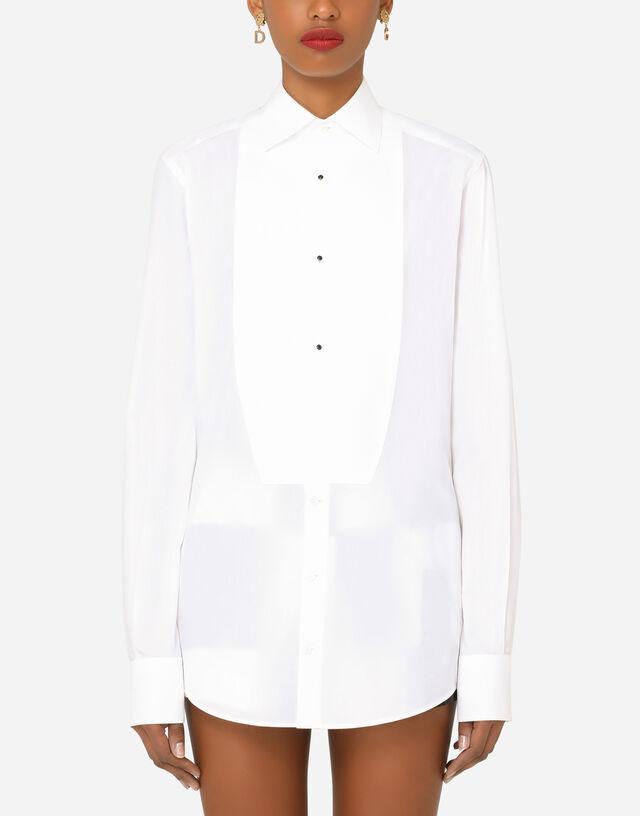 Poplin tuxedo shirt in White