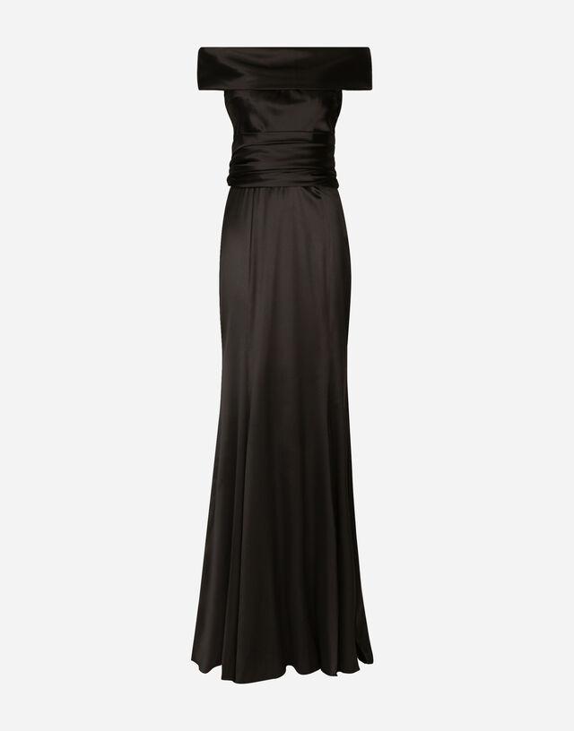 Long satin dress in BLACK