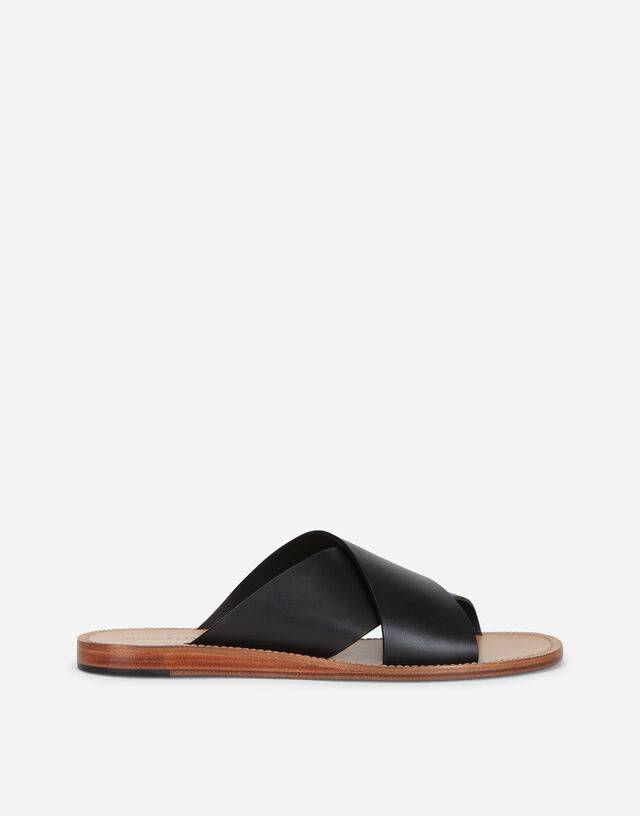 Calfskin pantheon sandals in BLACK