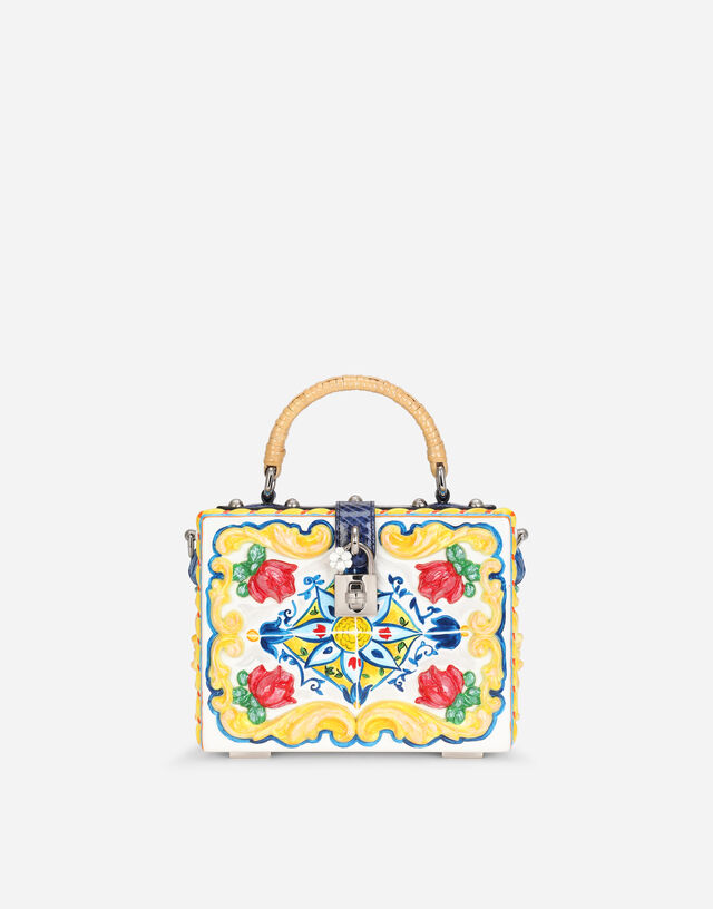 Dolce Box bag in hand-painted majolica wood  in MULTICOLOR