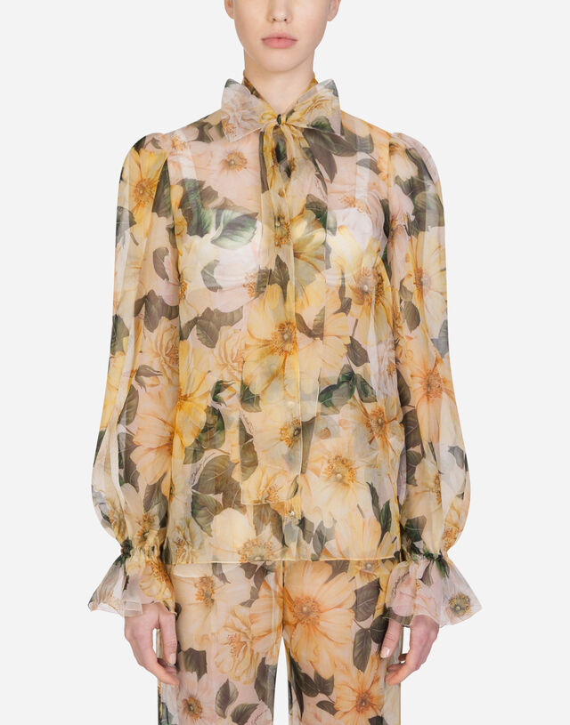 Camellia-print organza shirt with pussy bow in MULTICOLOR