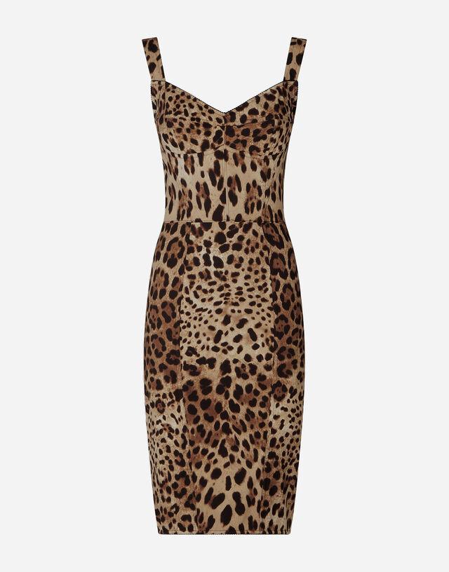 Leopard-print charmeuse midi dress in ANIMAL PRINT
