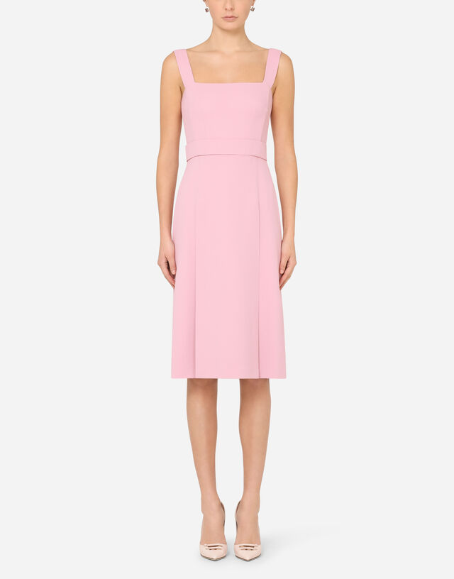 Sleeveless cady midi dress in PINK