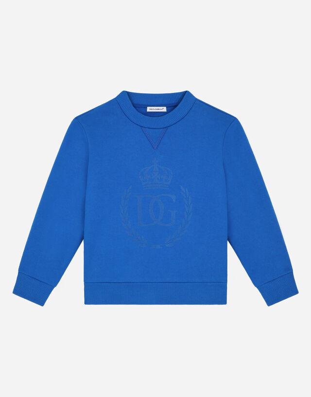 Round-neck sweatshirt with DG laurel print in Blue