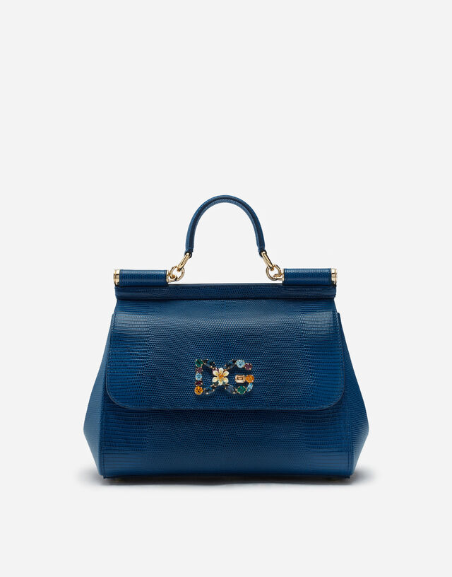 Medium calfskin Sicily bag with iguana print and DG crystal logo patch in BLUE