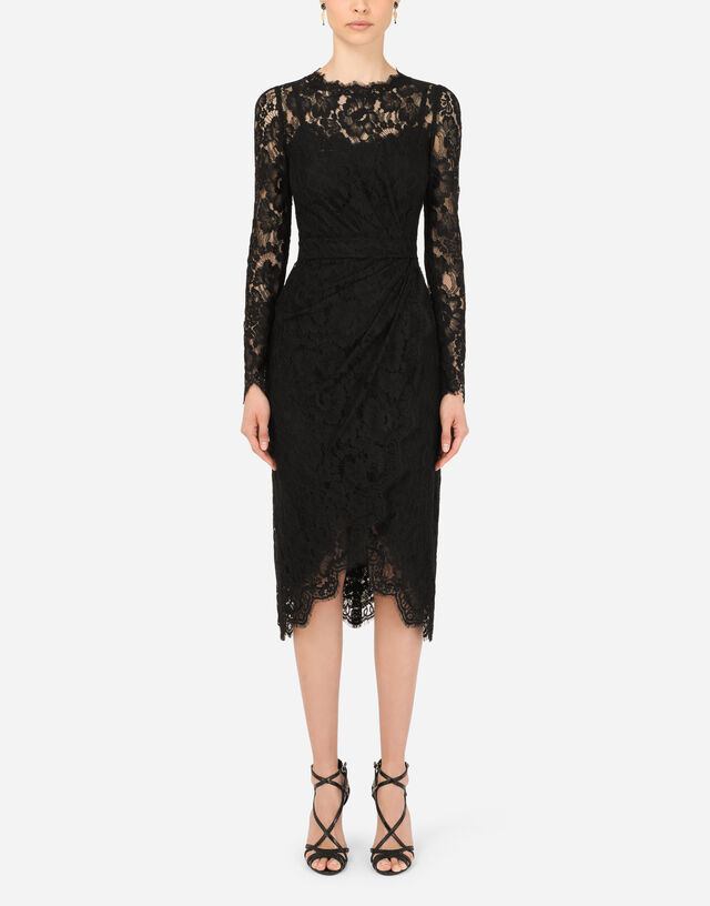 Galloon lace calf-length wrap dress in Black