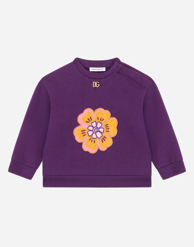 Jersey sweatshirt with flower patch in Purple