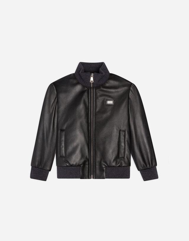 Leather bomber jacket in Black