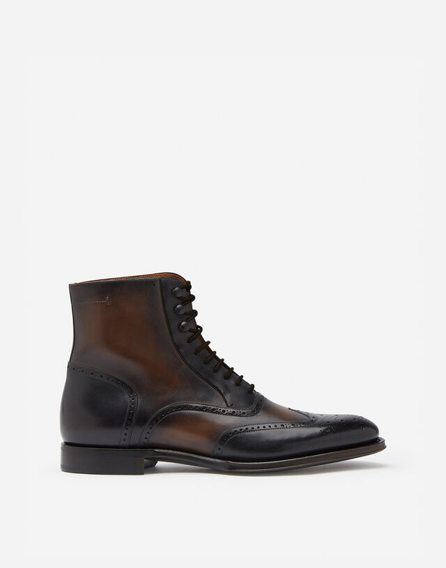 Giotto calfskin ankle boots in BLACK/BEIGE