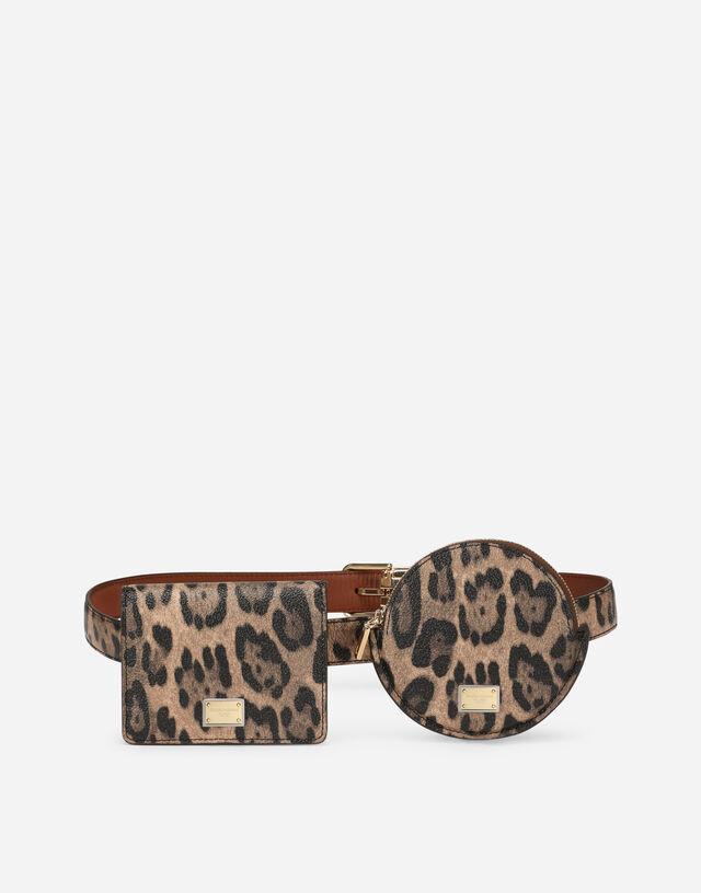 Leopard-print Crespo belt with mini bags in Multicolor