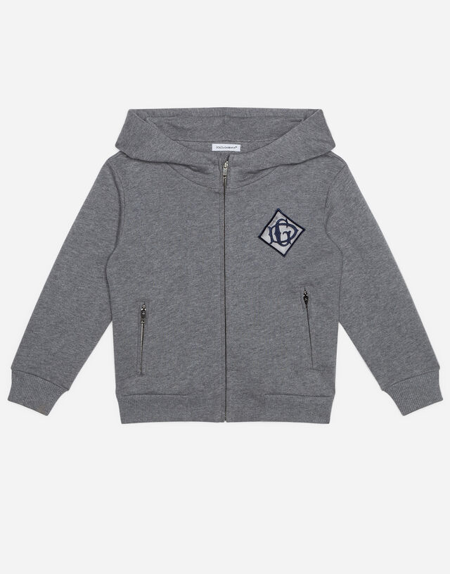 Jersey hoodie with satin DG detail in Grey