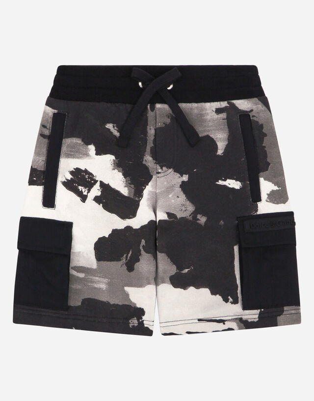 Jersey jogging shorts with camouflage print in Multicolor