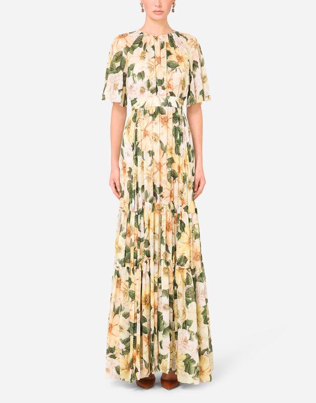 Short-sleeved long chiffon dress in FLORAL PRINT