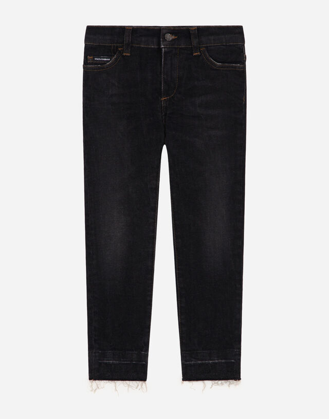 Regular-fit washed gray stretch jeans with DG patch in Grey