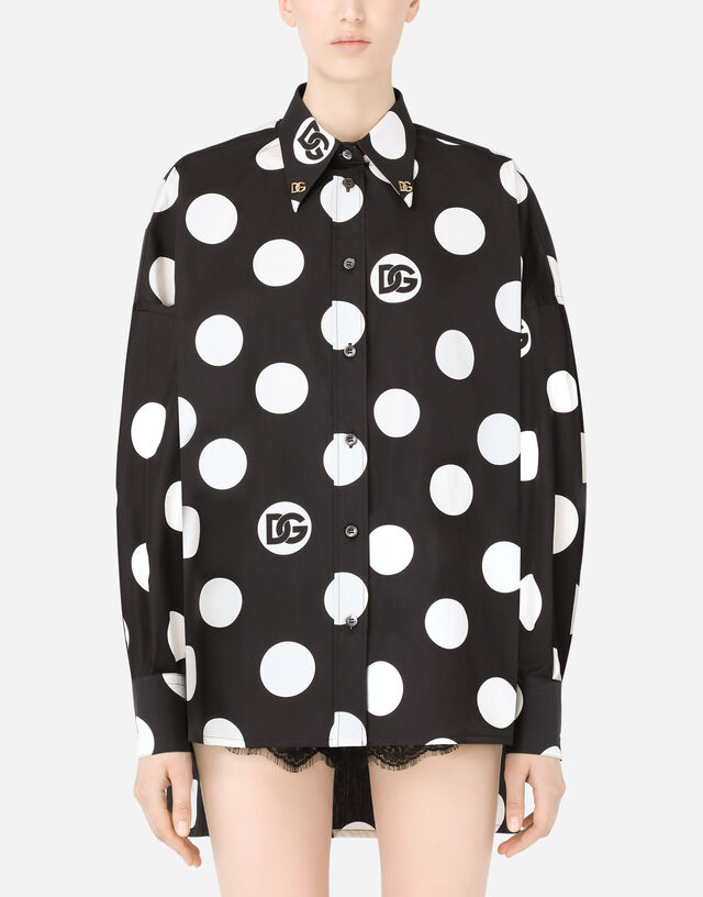 Poplin shirt with polka-dot print and DG embellishment in Multicolor