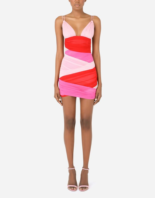 Short multi-colored chiffon dress with draping in Multicolor