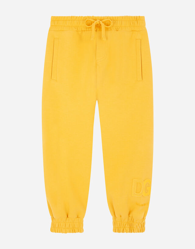 Jersey jogging pants with embossed DG logo in Yellow