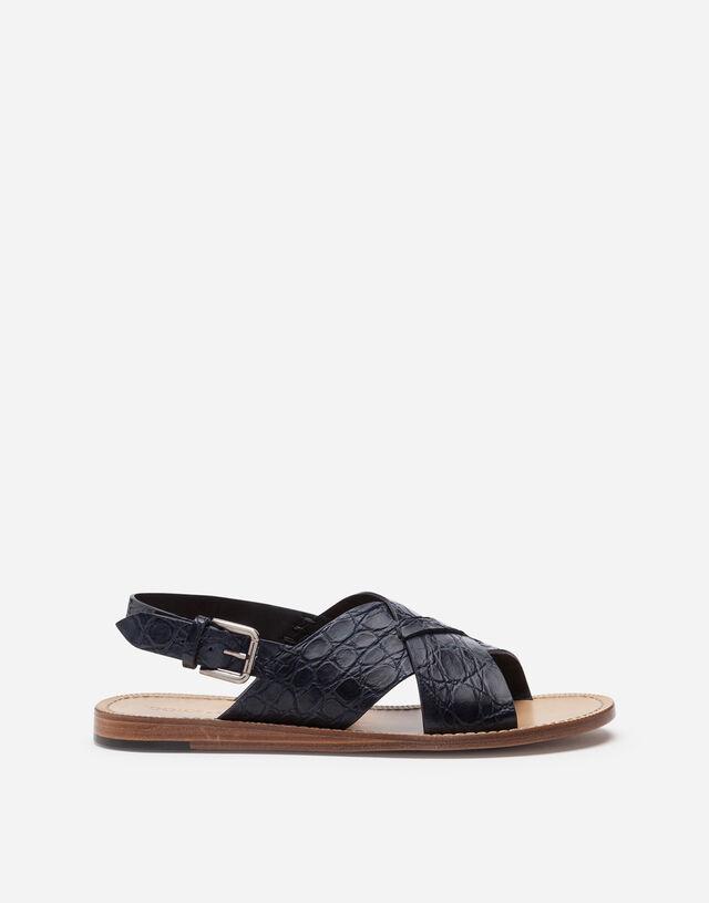 Hand-polished crocodile skin side sandals in BLUE