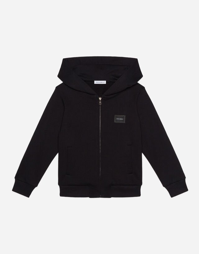 Jersey hoodie with logo tag in Black
