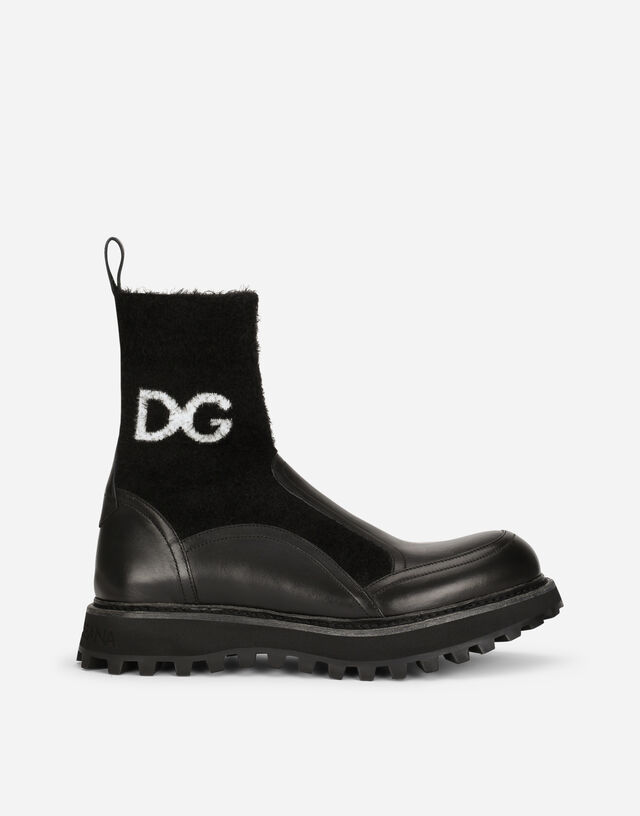 Horse calfskin ankle boots with branded sock in Black