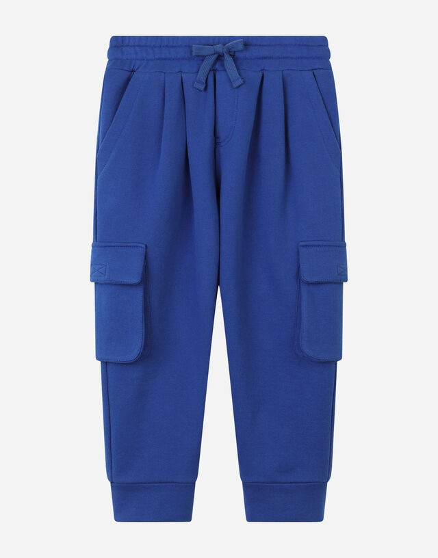 Jersey jogging pants with logo plate in Blue