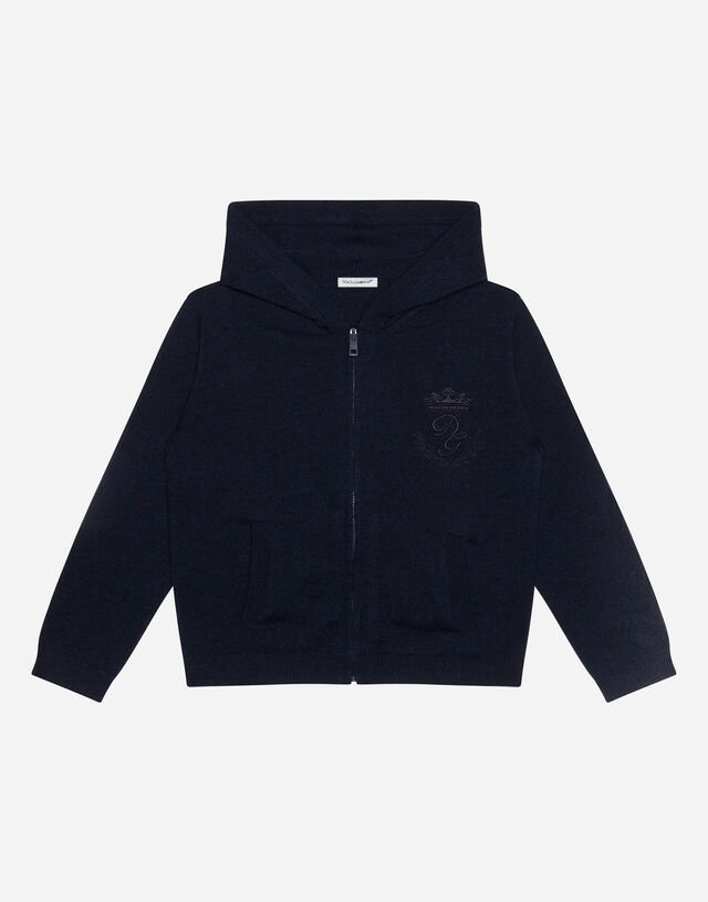 Hooded cashmere sweater with heritage embroidery in Blue