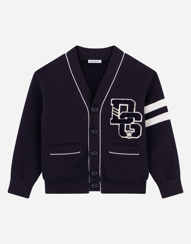 Jersey cardigan with logo patch in Blue