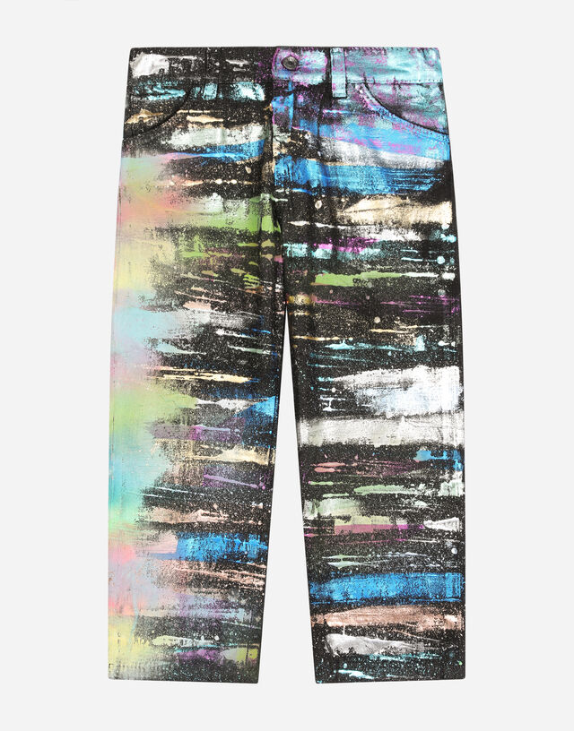 Regular-fit jeans with multi-colored glitch print in Multicolor