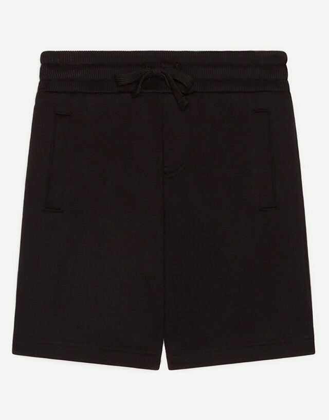 Jersey jogging shorts with logo plate in Black