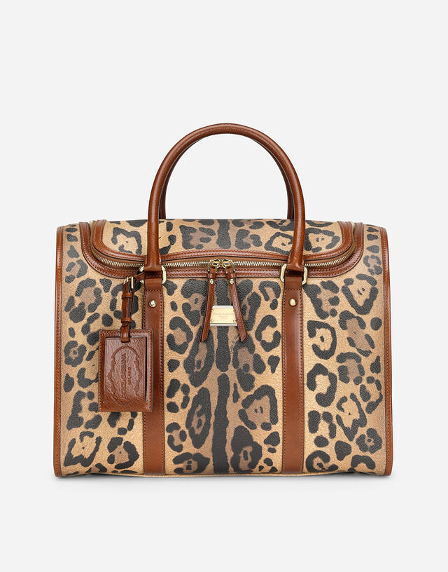 Small pet carrier bag in leopard-print Crespo with branded plate in Multicolor