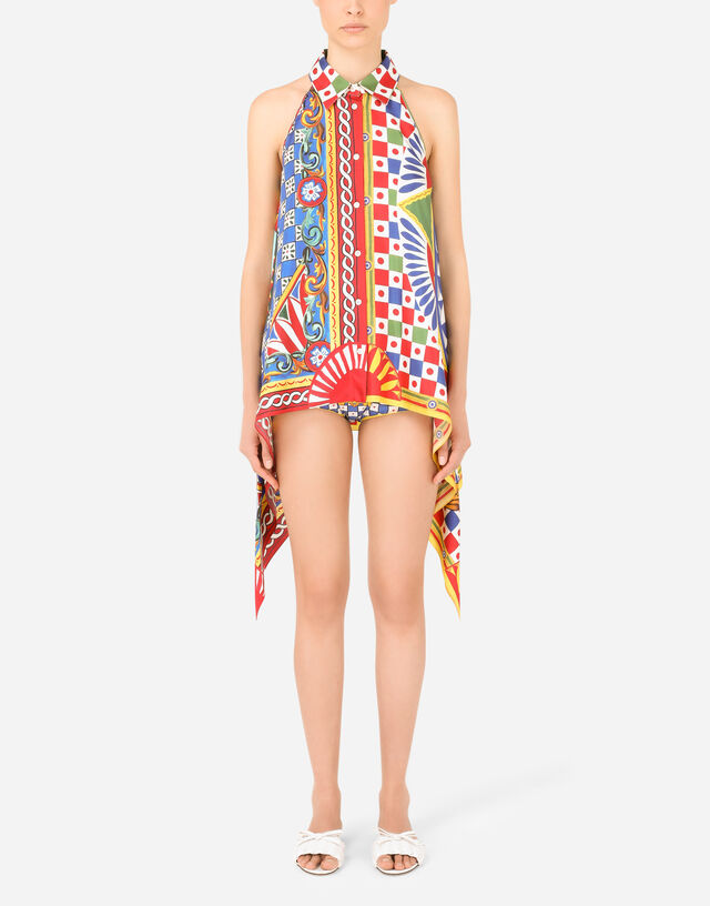 Twill halterneck shirt with Carretto print in Multicolor