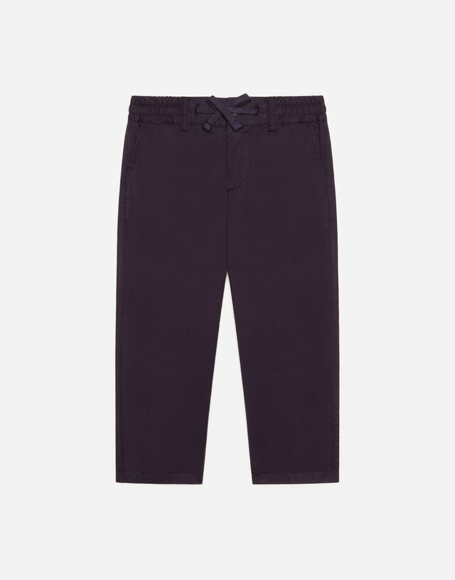 Poplin pants with embroidered logo in Purple