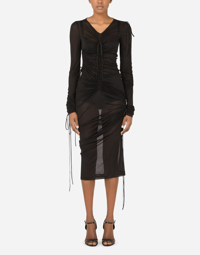 Viscose jersey calf-length dress with draping in Black