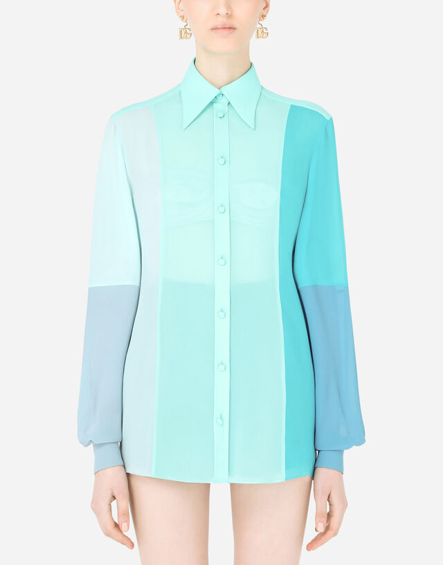 Multi-colored georgette patchwork shirt in Multicolor
