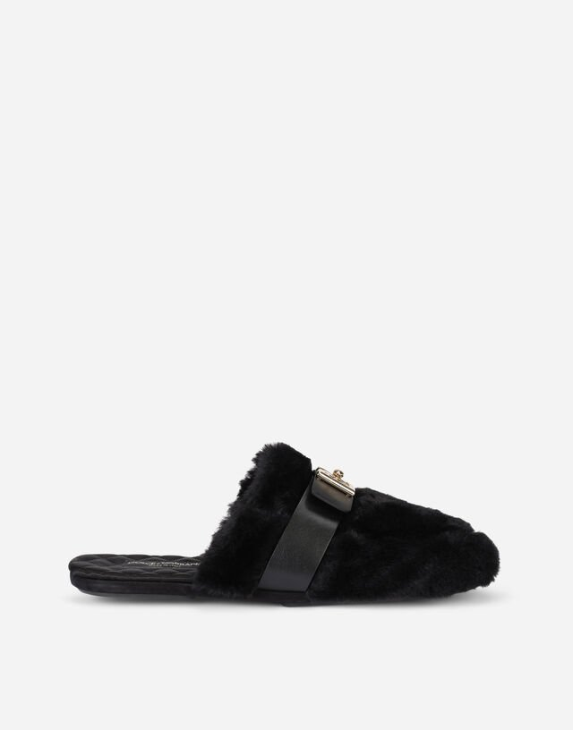 Faux fur slippers with DG logo in Black