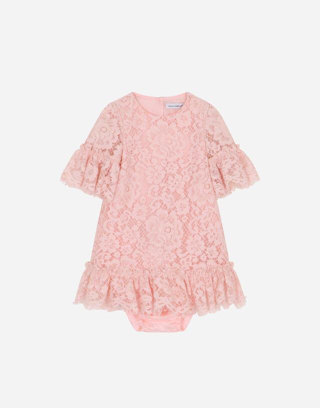 Lace midi dress in Pink