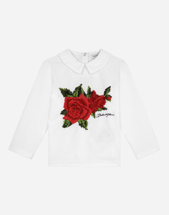 Jersey polo shirt with crochet rose patch in White